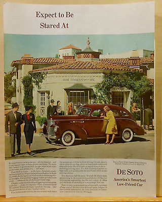 1939 magazine ad for DeSoto - maroon DeSoto stared at in Hollywood photo