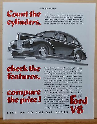 Vintage 1940 magazine ad for Ford - Count the Cylinders Check the Features