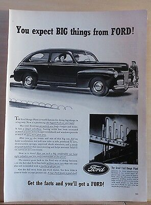 Vintage 1940 magazine ad for Ford - from Ford Rouge Plant, Biggest Ford Ever