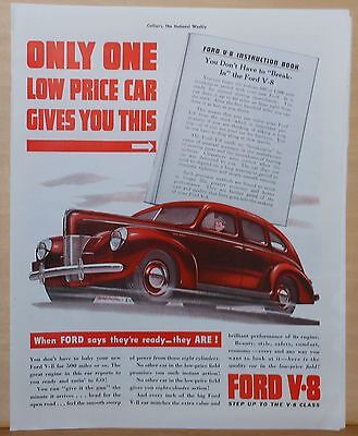 Vintage 1940 magazine ad for Ford - red Ford, Don't have to break in a Ford V-8!