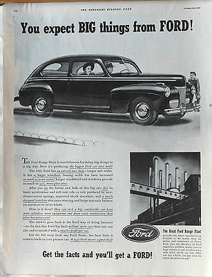 Vintage 1940 magazine ad for Ford - Great Ford Rouge plant, 1941 Ford biggest