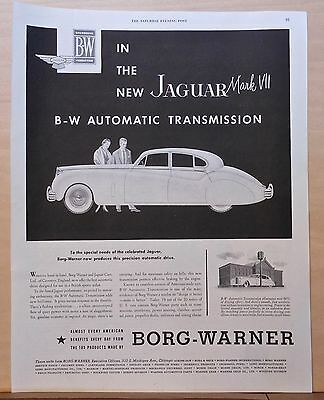 1953 magazine ad for Borg Warner Automatic Transmission - Jaguar Mark VII