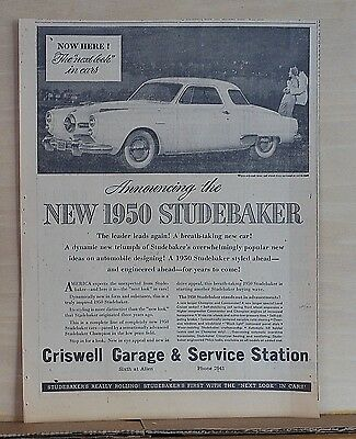 "1949 newspaper ad for Studebaker - 1950 Champion, The ""Next Look"" in Cars"