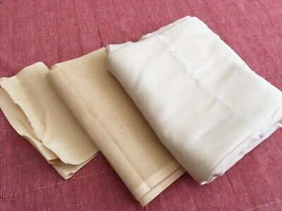 Bulk Lot of Unworked Cream Embroidery Cloth - 14 16 20 count 3m+ x 1.5m