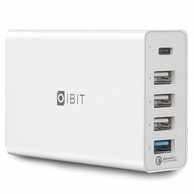 IBIT Quick Charge 3.0 4X FASTER & Type-C 5-Port USB Travel Wall Charger Station
