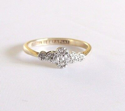 Old antique Art Deco 18ct gold & plat diamond ring size N 1/2