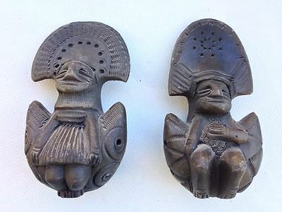coppia  Pre-Columbian style clay ocarine whistle figurines  sun and moon sole