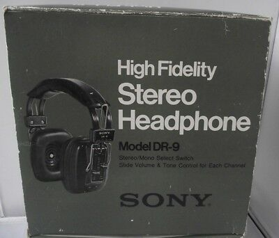 Vintage Sony DR-9 High Fidelity Stereo Headphones  Boxed
