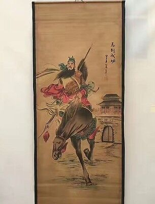 Collectible Old Decor superb Chinese long Scroll Painting Riding Horse Guan Yu