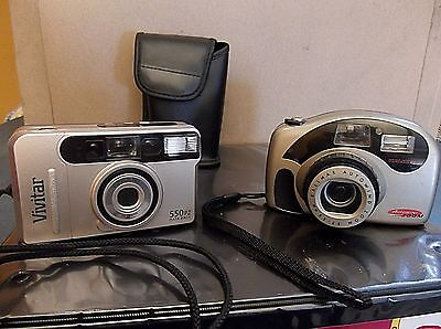 Lot 2 33mm Film Cameras Kalimar Autowind Vivitar Series 1 550pz Data Back w/case