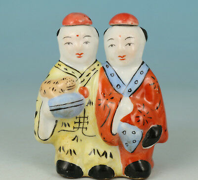 chinese Porcelain Hand Painting Double Man Snuff Bottle