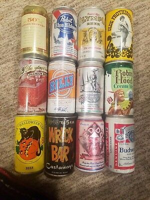 VINTAGE LOT OF DIFFERENT EMPTY BEER CANS 12 ps