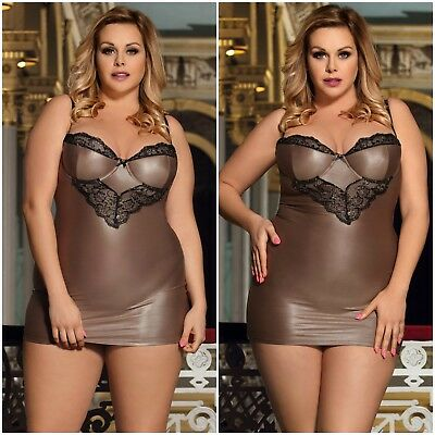 Light Brown New Sexy Plus Size Faux Leather Look Mini Chemise Black Silver Lace