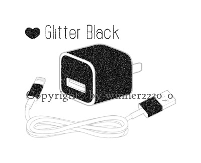 Sparkling GLITTER BLACK iPhone USB Charger Power Adapter Skin 6pcs Sticker AU