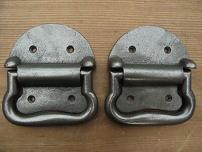 Pair Vintage Victorian Style Iron Blanket Box Handles chest drawers industrial..