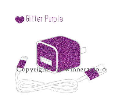 Sparkling GLITTER PURPLE USB iPhone Charger Power Adapter Skin 6pcs Sticker AU