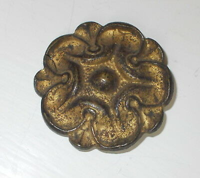 Antique French Picture Hook Cover, Chandelier Embellishment Brass Rosette