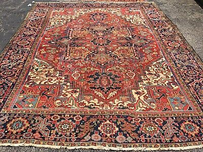 Antique Oriental Rug - Heriz 10x12 - Red - hand woven - wool