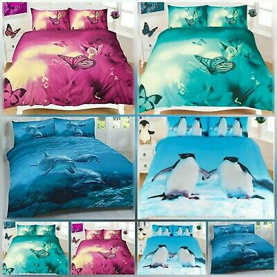 New 3D Look Animal Print Penguin/dolphins/buter  Duvet Quilt Covers