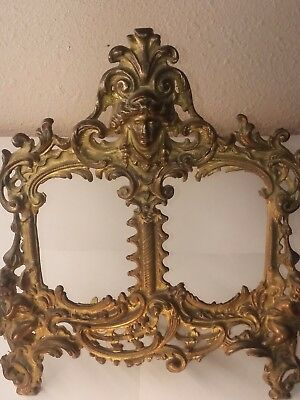 Vintage Ornate Brass  Double Picture Frame Victorian Style Home Decor