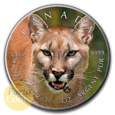 2016 Canada $5 Maple 1 oz Silver Cougar Colorized Antique Coin NEW