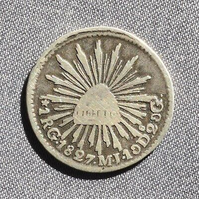 1827  1  REALES ~ Mexico - Cap & Rays Type ~ Rare Silver Coin  ~ KM372