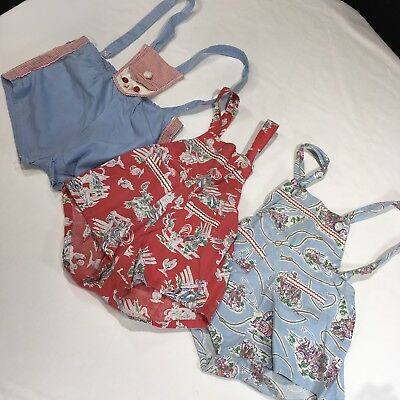 VTG MID-CENTURY Infant Sunsuit Rompers Cowboy Pioneer Print LOT of 3 THREE Rare