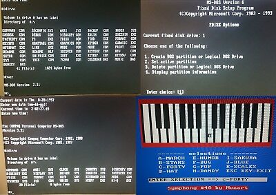 "5x MS-DOS System/Boot-Disks version 2.11,3.31,4.01,5.00,6.22 on 5.25"" 360Kb Disk"