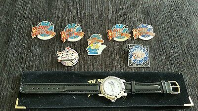 Planet Hollywood Watch and 7 Pins
