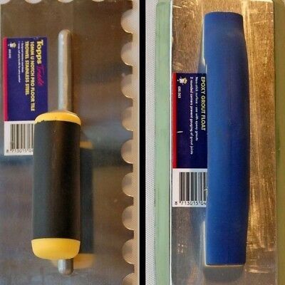 Tilers 10mm U Notch Tile Trowel Stainless Steel and Tiling Epoxy Grout Float