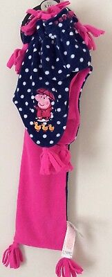 Gorgeous Peppa Pig Scarf Hat & Mittens From Marks & Spencer Age 6-18 Months New