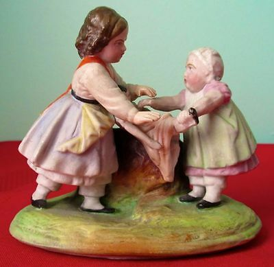 Antique Gebruder Heubach Bisque Figurine Girls Fighting Over a Doll 1840-1900s