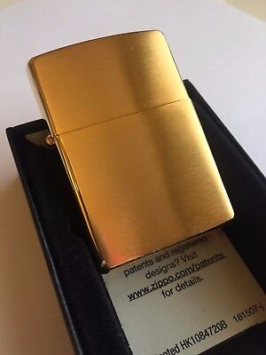 24k Gold Plated Genuine Zippo Lighter Clic Gift 24ct Usa Made Brushed Br
