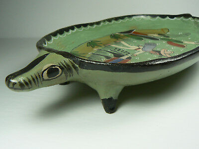 Salvador Vazquez Pottery Armadillo Footed Plate Platter Dish SIGNED