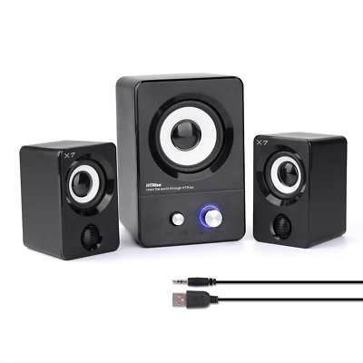 HTRise USB Powered Computer Speakers System (X7 Black) for Gaming/Music/Movies,