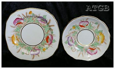 Exquisite Royal Stafford hand painted poppies saucer & side plate set