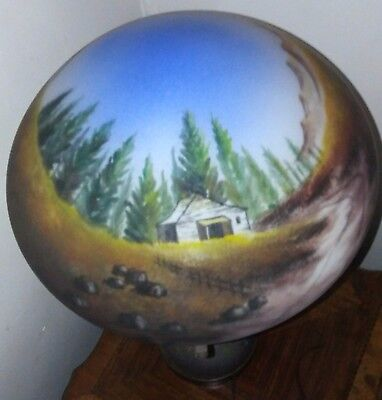 """Rare Vintage Hand Painted Reverse Scene Table Lamp W/Painted glass Stem 18 1/2"""""""