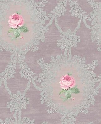 French Romantic Victorian Lilac Purple Pink Silver Vintage Double Roll Wallpaper