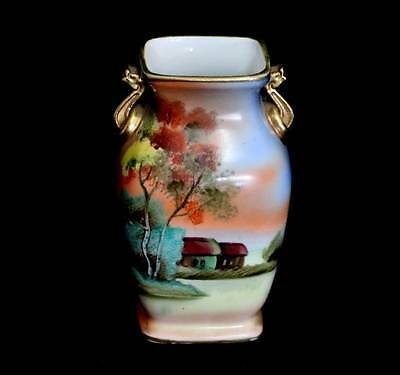 Antique early Noritake hand painted sunset cottage pretty vase