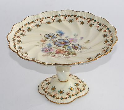 Antique Pointons England Tall Footed Cake Stand/Plate: PANSIES, Gilt Highlights