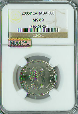 2005-P Test Canada 50 Cents Ngc Mac Ms-69 Pq  Finest Rare Spotless ,