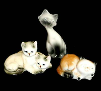 Vintage group of 3 Siamese cats kitten figurines - one googly eyed