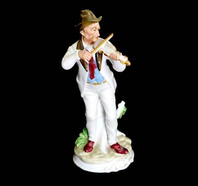 Vintage tall old man with fiddle ceramic china figurine ornament 30cm