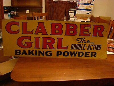 Clabber Girl Metal Double Sided Vintage Store Advertising Sign Baking Powder