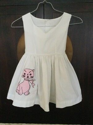 Vintage 1960 Girls White Pink Check Kitty Cat Applique Apron Tie Dress 5