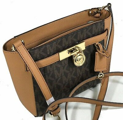 MICHAEL KORS HAMILTON TRAVELER MD MK SIGNATURE  MESSENGER BAG  TOTE Gold BROWN