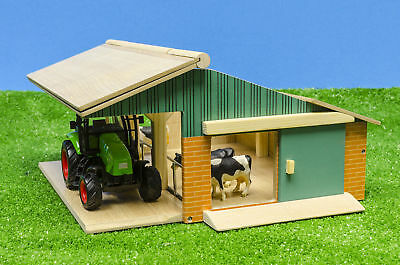 Kids Globe Farming - Farm Play Set Opening Cattle Barn Tractor Cows 1:50 Scale