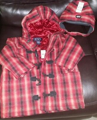 NEW The Children's Place》Boy's Red Plaid Hooded Wool Pea Coat 3T & Hat 4T》