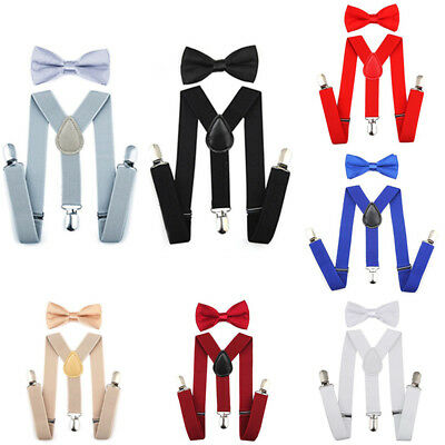 Boy Kids Y Back Suspender & Bow Tie Matching Set Tuxedo Wedding Shirt Suit Party