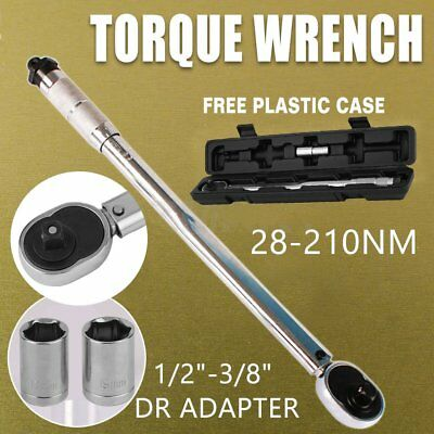 """1/2"""" & 3/8"""" Drive Torque Ratchet Wrench Micrometer 28-210NM Adjustable Case AM"""